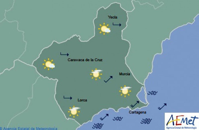 Águilas was the warmest place in mainland Spain on Monday with 23 degrees