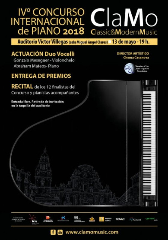13th May, free international piano competition at the Auditorio Víctor Villegas in Murcia