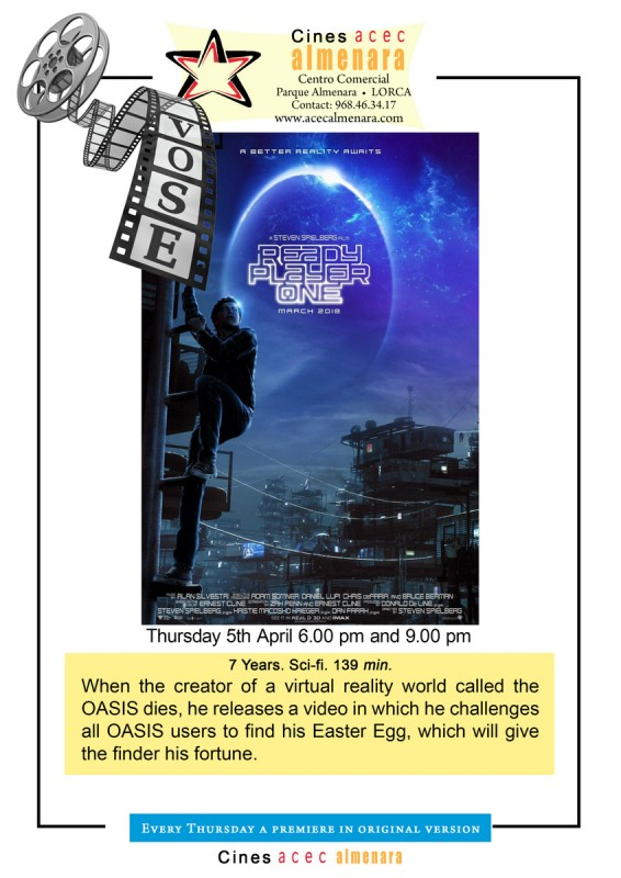 Thursday 5th April ENGLISH LANGUAGE CINEMA: Ready Player One at the Parque Almenara Lorca