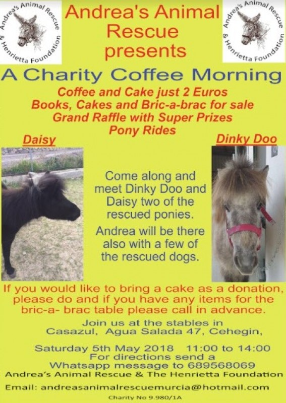 5th May Charity coffee morning for Andrea's Animal rescue in Cehegín