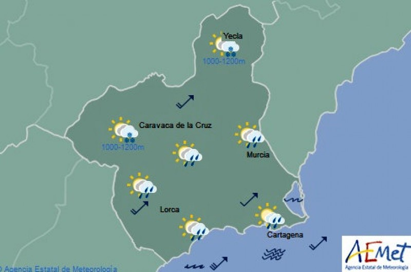 Showers likely to return to Murcia on Tuesday, strong winds expected on the coast