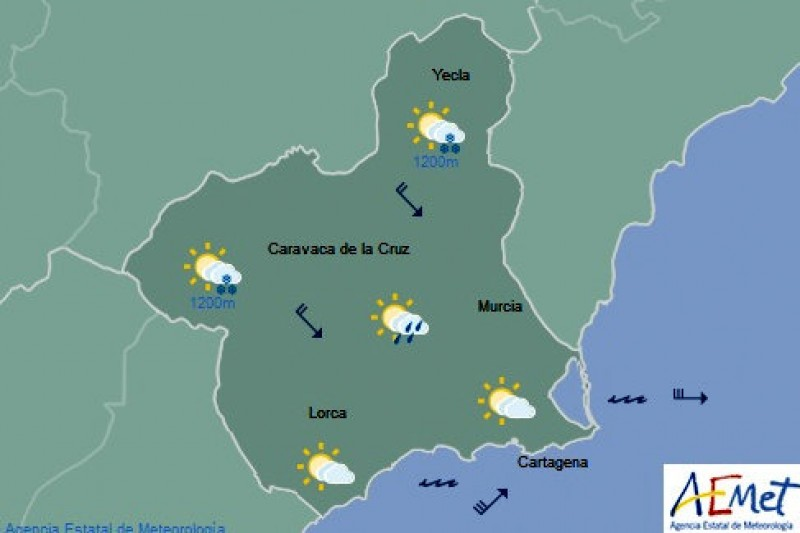 Windy and a couple of degrees cooler in the Costa Cálida on Wednesday