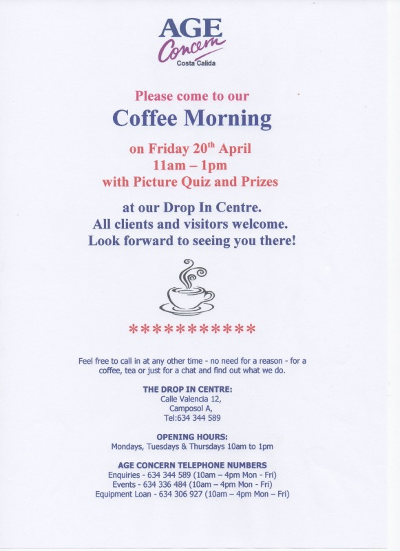 20th April Age Concern Coffee morning on Camposol