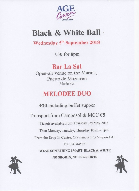 <span style='color:#780948'>ARCHIVED</span> - 5th September Age Concern Costa Cálida Black and White Ball