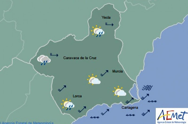 Up to 23 degrees in Murcia on Thursday as the wind begins to die down