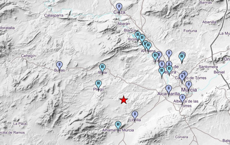 3.6 Richter earthquake between Alhama de Murcia and Mula