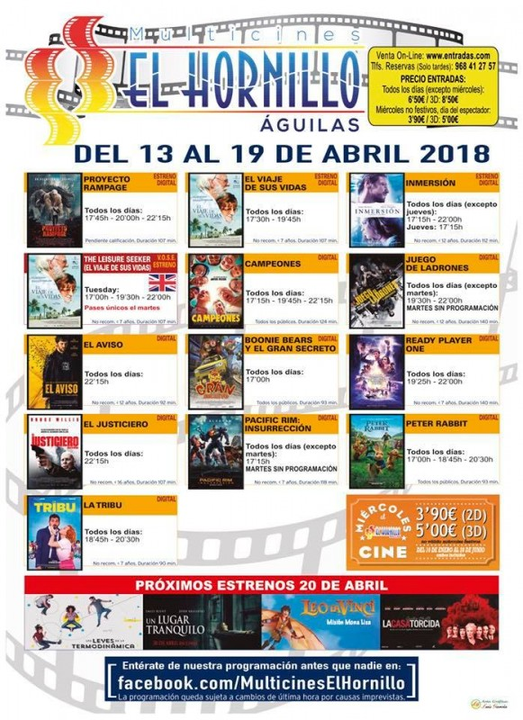 17th April ENGLISH language cinema at the Multicines El Hornillo in Águilas