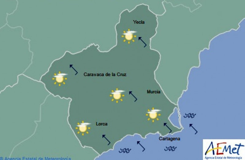 Glorious weather forecast for Tuesday in the Costa Cálida