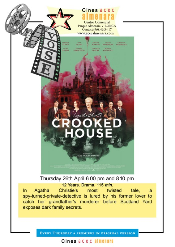 26th April ENGLISH LANGUAGE CINEMA at Parque Almenara Lorca; Crooked House