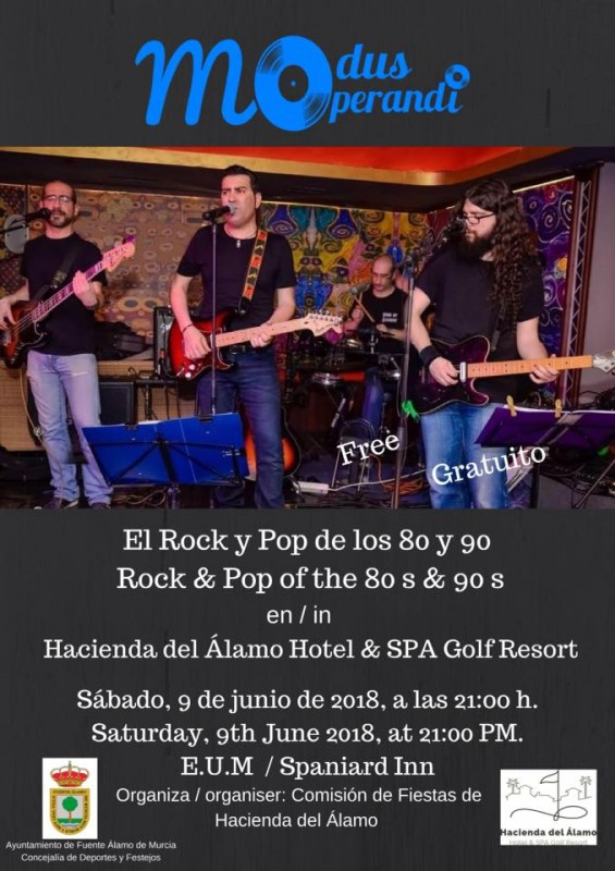 9th June Free entry Rock and Pop of the 80s and 90s at Hacienda del Álamo