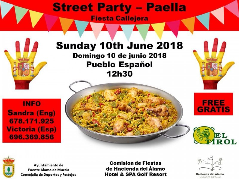 10th June Street party and giant paella: Hacienda del Álamo Fiestas