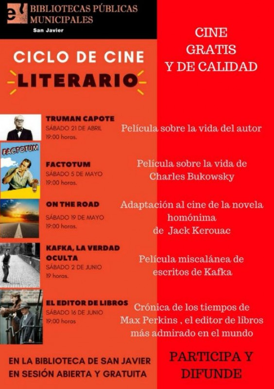 Until 16th June, free literary cinema season in San Javier