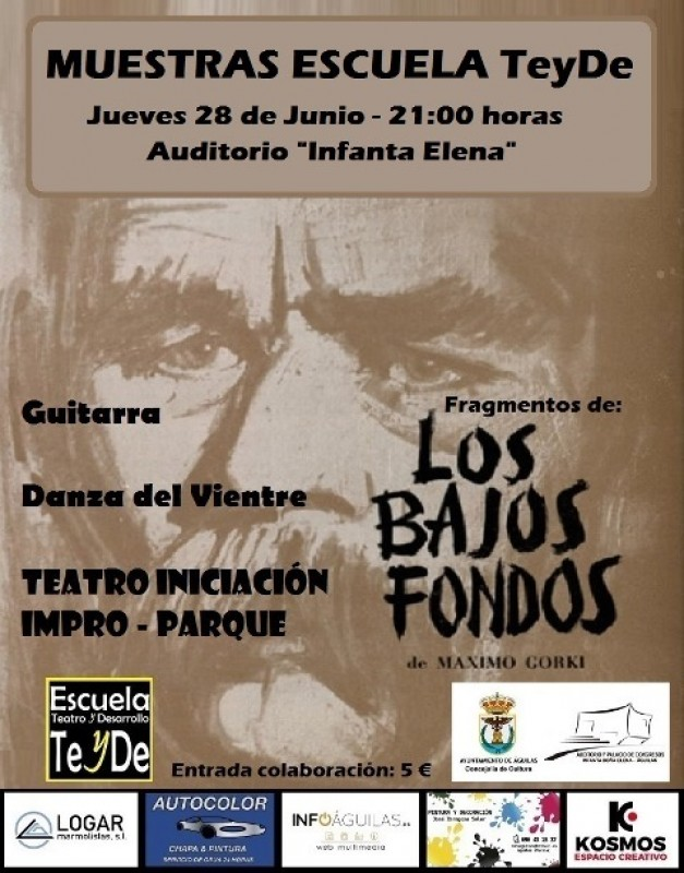 28th June music, dance and theatre from the TeyDe theatrical school in Águilas