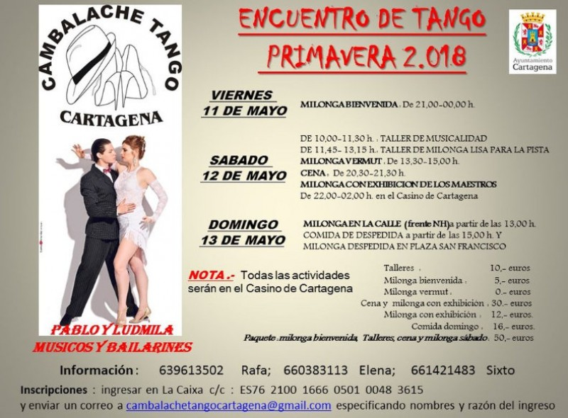 <span style='color:#780948'>ARCHIVED</span> - 11th to 13th May, tango festival in Cartagena