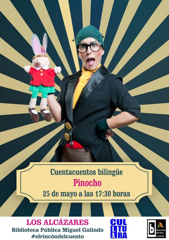 25th May Free bi-lingual storytelling in Los Alcázares library: Pinocchio