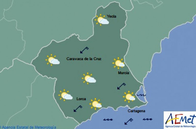 Cloudy intervals in Murcia on Thursday, a couple of degrees cooler