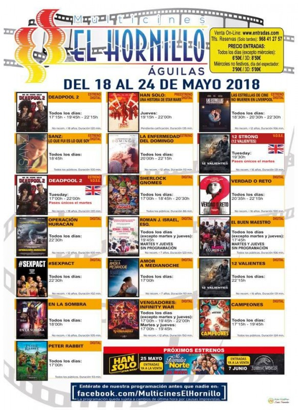 22nd May ENGLISH LANGUAGE CINEMA  in Águilas