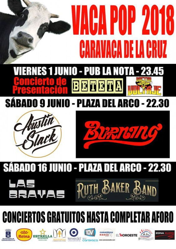 16th June Last free concert in Vacapop cycle Caravaca de la Cruz