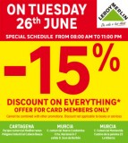 Get 15% off EVERYTHING at Leroy Merlin Stores Murcia on Tuesday 26th June 2018