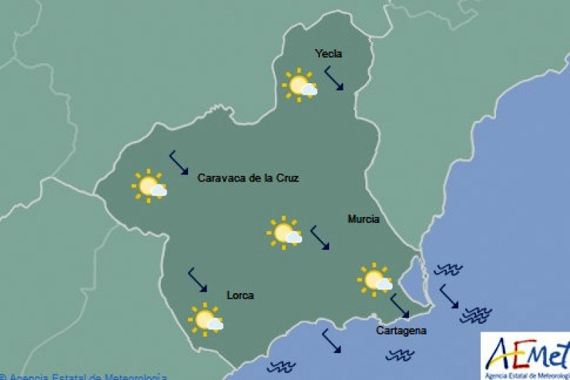 Weather clearing in the Costa Cálida on Thursday, maximum temperature 28