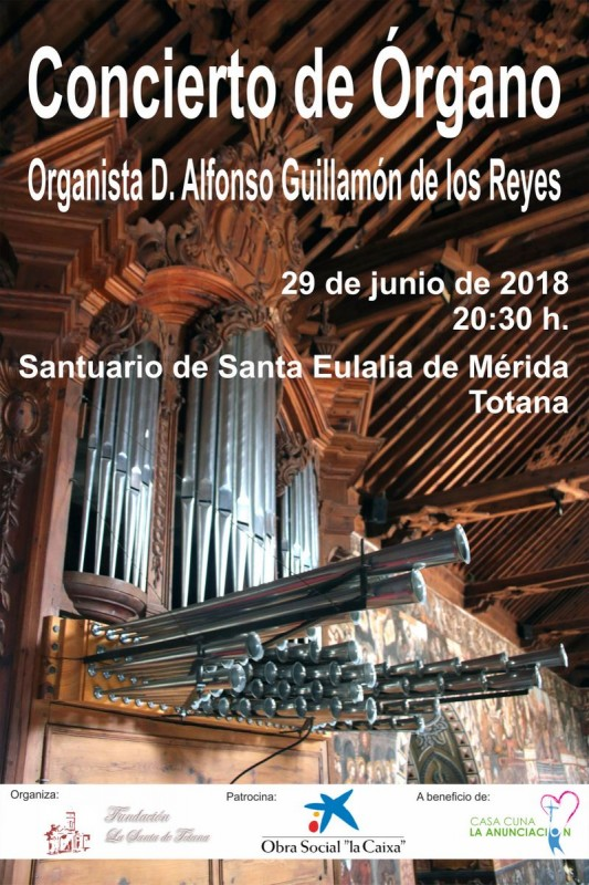 29th June Totana: Benefit organ concert in the church of the Sanctuary of Santa Eulalia