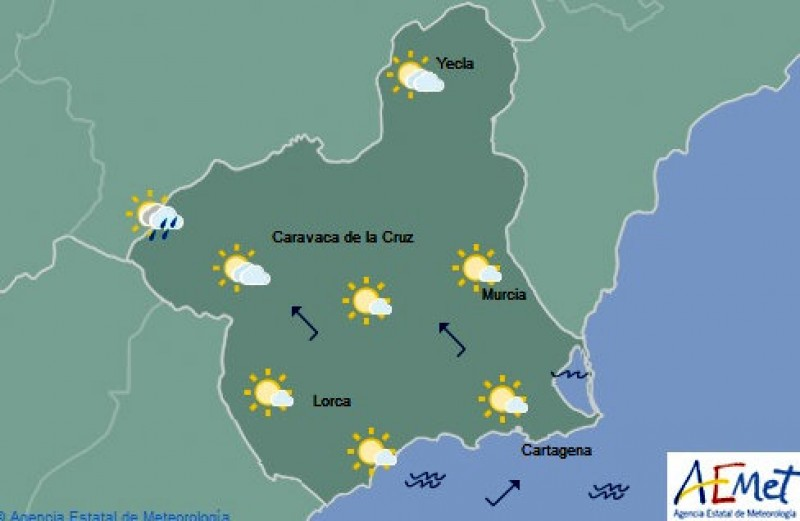 Another warm one on Friday in the Costa Cálida: 30 degrees forecast in Murcia