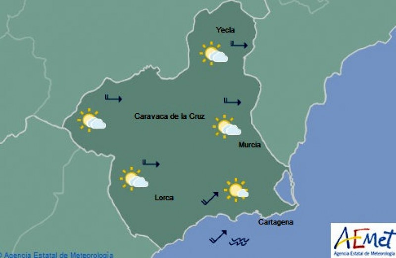 31 degrees, warm and sunny in Murcia on Tuesday
