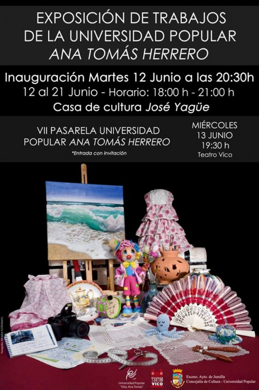 12th June to 21st July Exhibition by students of the Universidad Popular in Jumilla