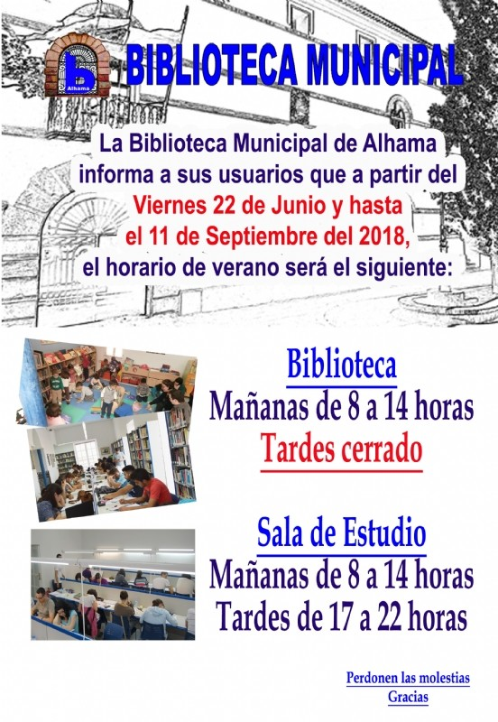 Summer opening hours for Alhama de Murcia library 2018
