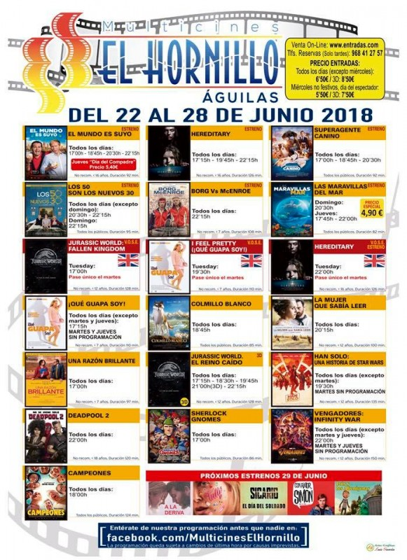 26th June ENGLISH LANGUAGE CINEMA  at the Multicine Hornillo in Águilas