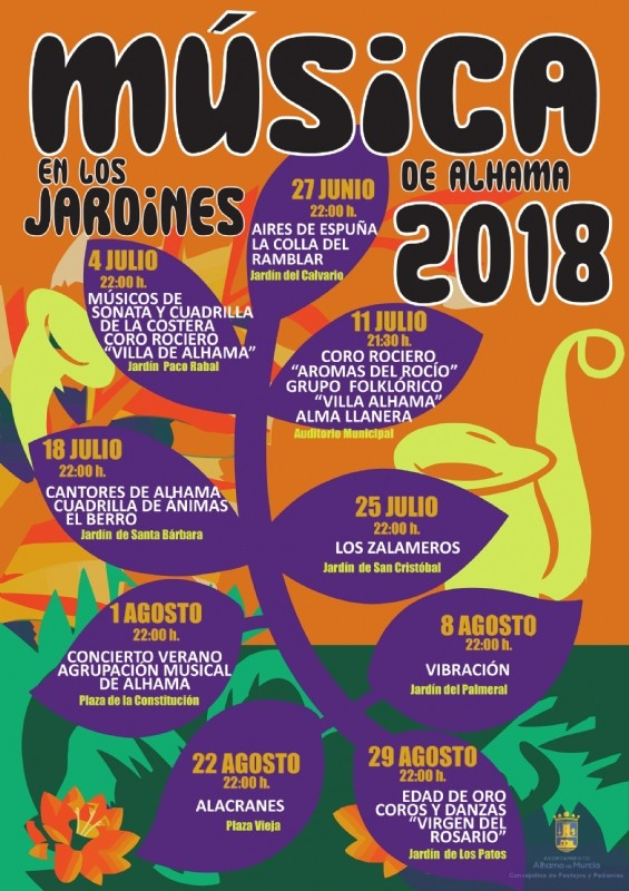 8th August Music in the gardens of Alhama de Murcia: free open-air concert