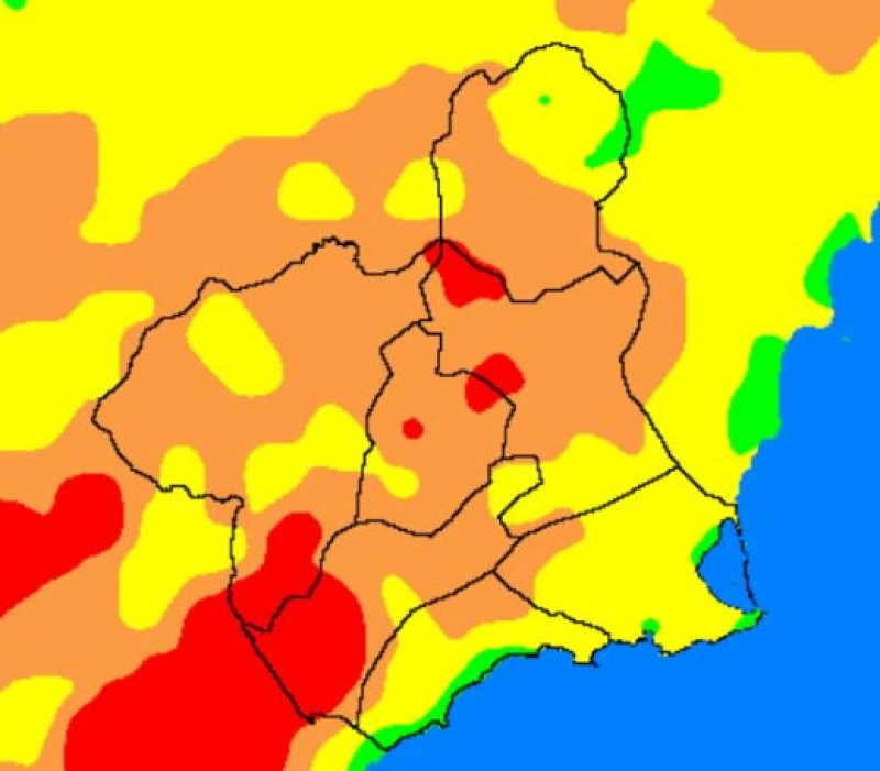 Fire risk and UV exposure between very high and extreme in Murcia on Wednesday
