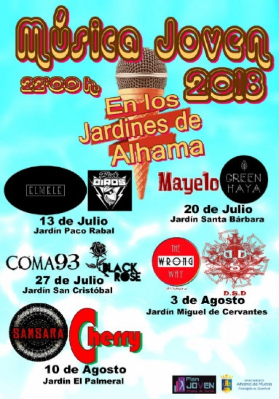 Friday 13th July, free Friday evening open-air concerts for young people in Alhama de Murcia