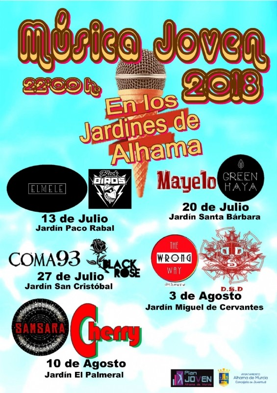 27th July Coma 93 and Black Rose: FREE youth concert Alhama de Murcia