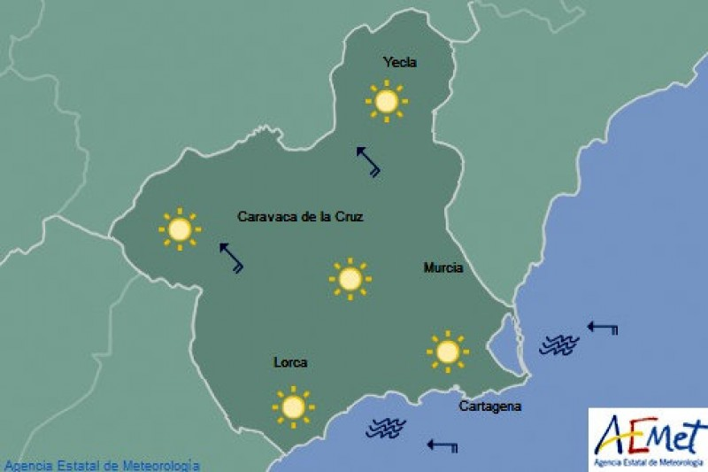 Caravaca tops the Spanish temperature chart with 37.6 degrees!