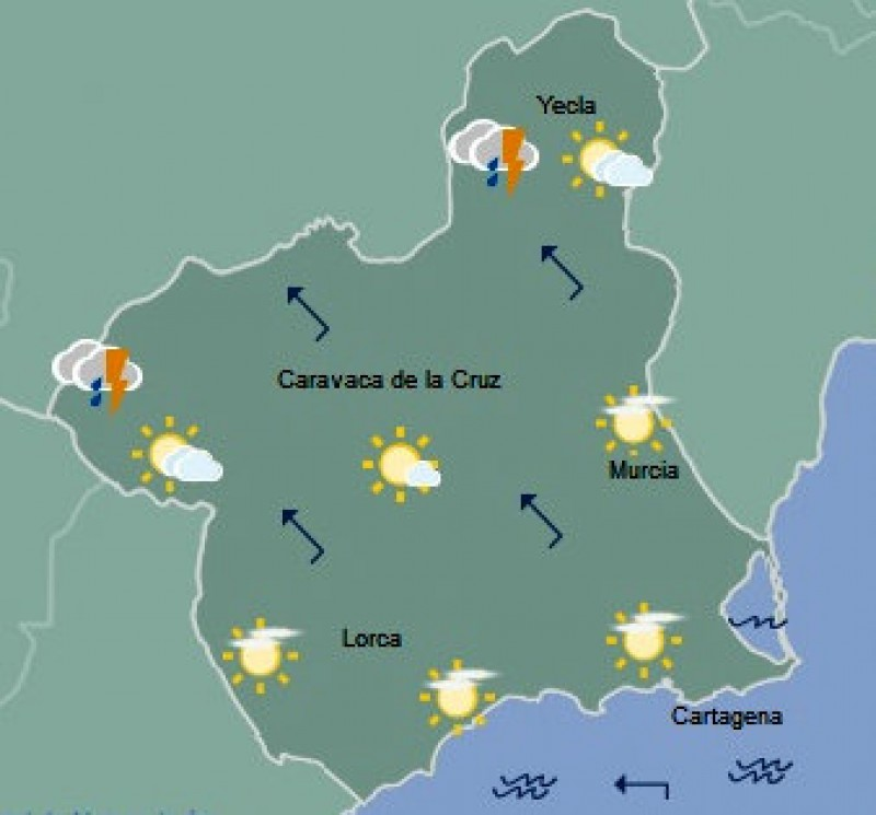 Sudden 17-degree drop in temperatures as storms hit northern Murcia
