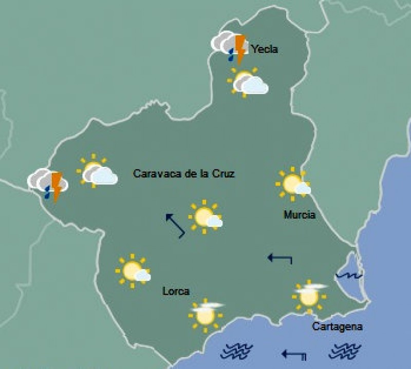 Thunderstorm alert in north-west Murcia on Wednesday