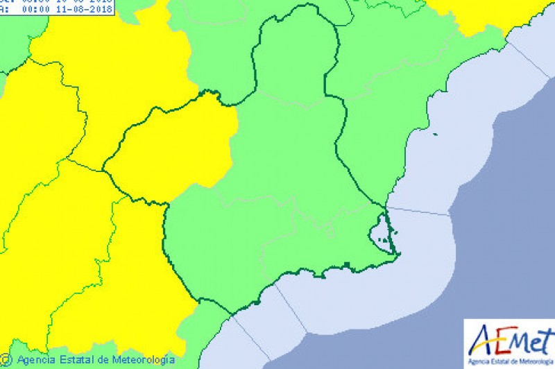 Thunderstorms in most of Murcia but coastal areas escape