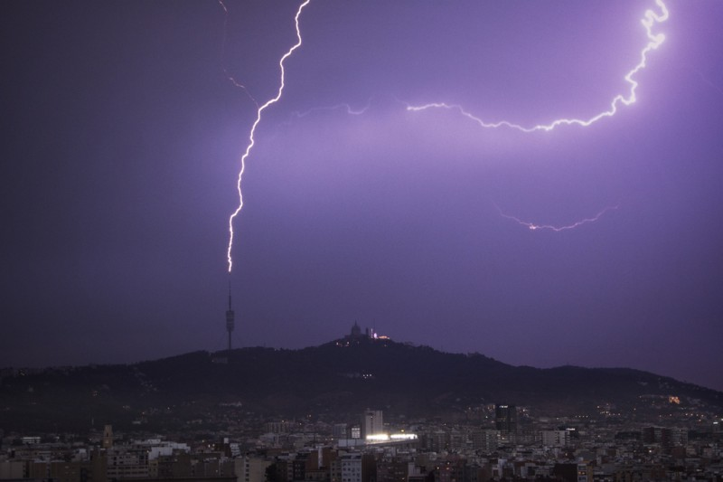 August was the month with most lightning strikes in Spain this century
