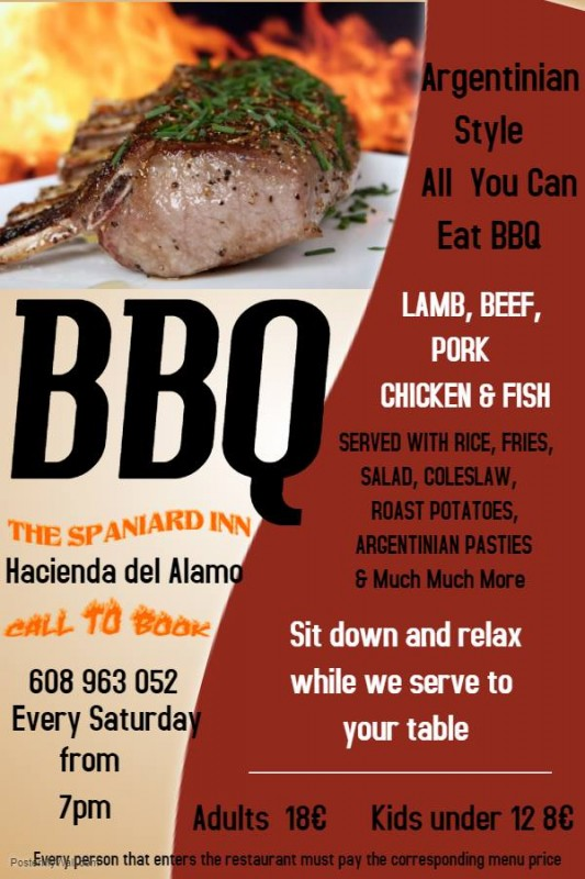 New Argentinian-style all you can eat BBQ at the Spaniard Inn Fuente Álamo