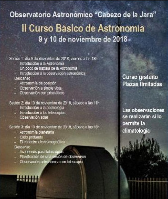 9th and 10th November, introductory astronomy course at the Puerto Lumbreras observatory