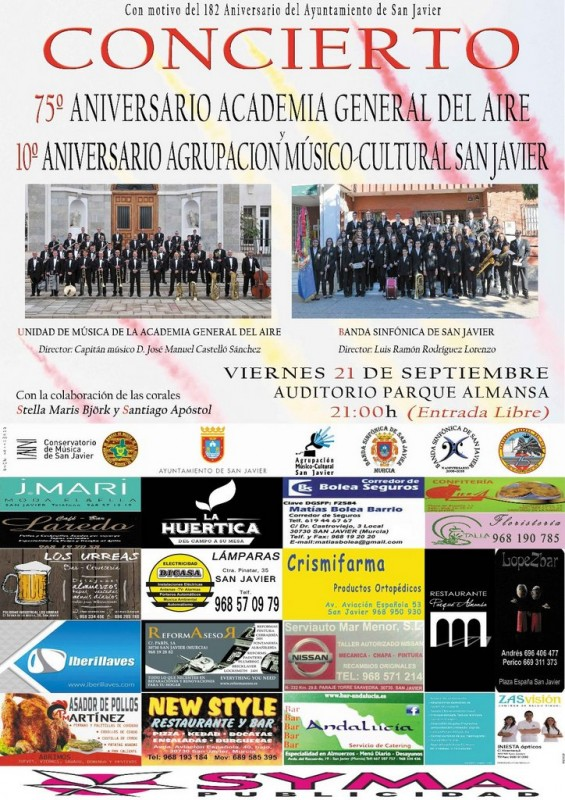 Friday 21st September Free entry concert: 75th Anniversary of the Air Academy San Javier