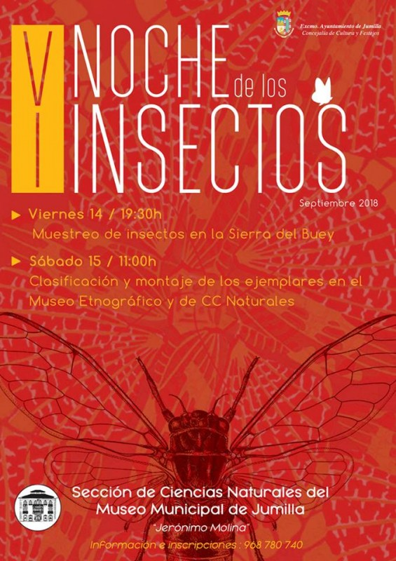 14th and 15th September: Educational  Insect Night in Jumilla: V Noche de los Insectos