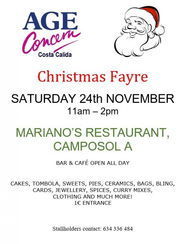 24th November Age Concern Christmas Fair on Camposol