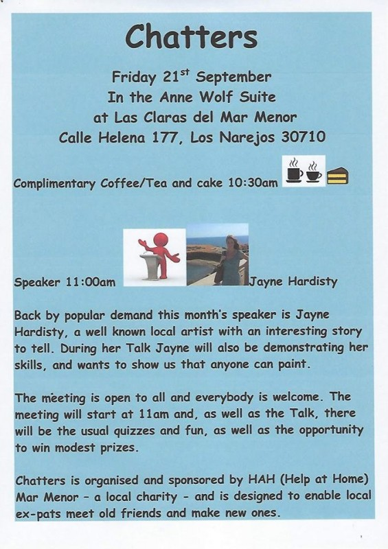 21st September Chatters coffee morning Los Alcázares