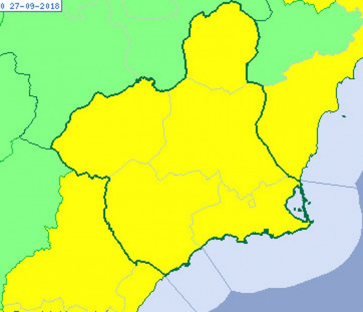 Yellow alert throughout Murcia on Wednesday for possible heavy rain