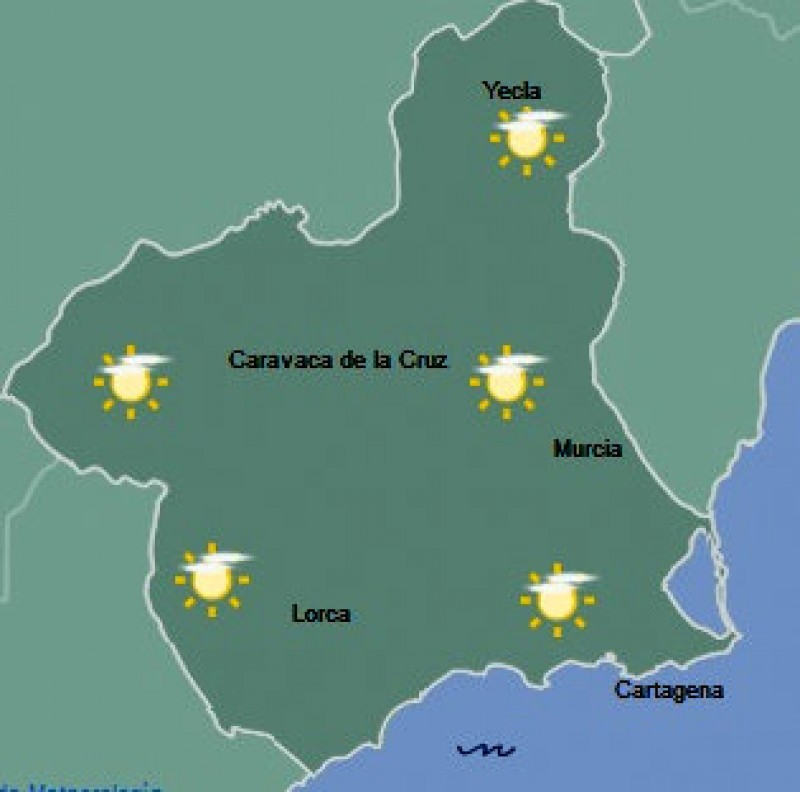 A warm and mainly sunny holiday weekend ahead in the Costa Cálida