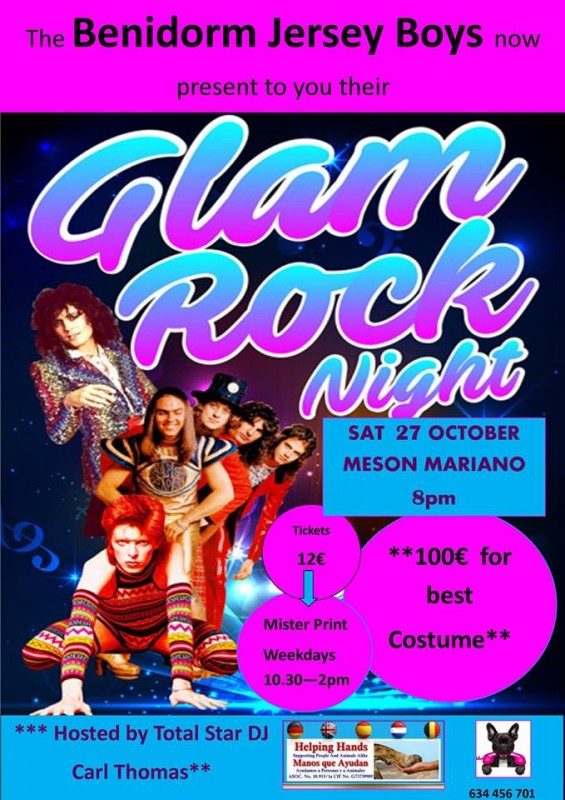 27th October Rock night to raise funds for Helping Hands; Camposol in Mazarrón