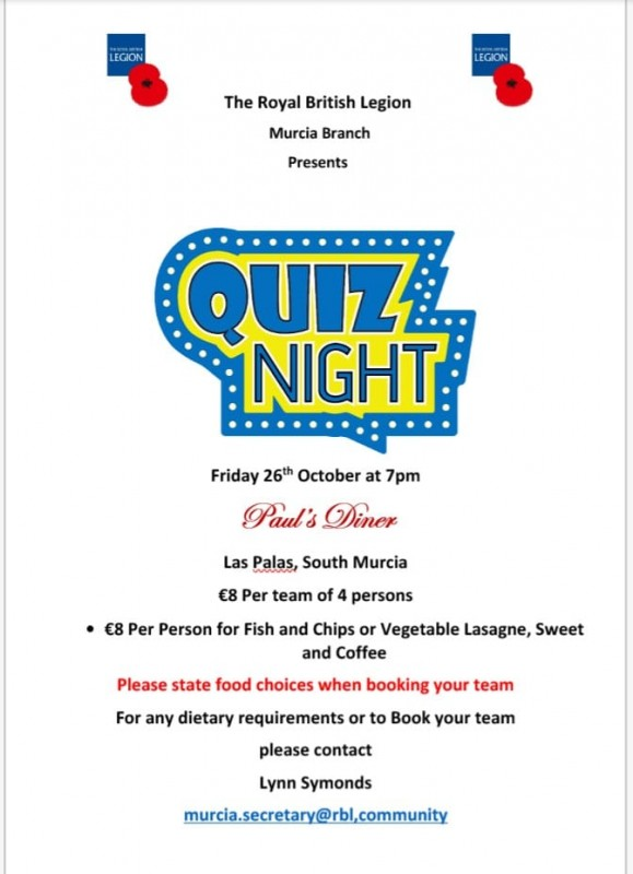 26th October Quiz Night Royal British Legion