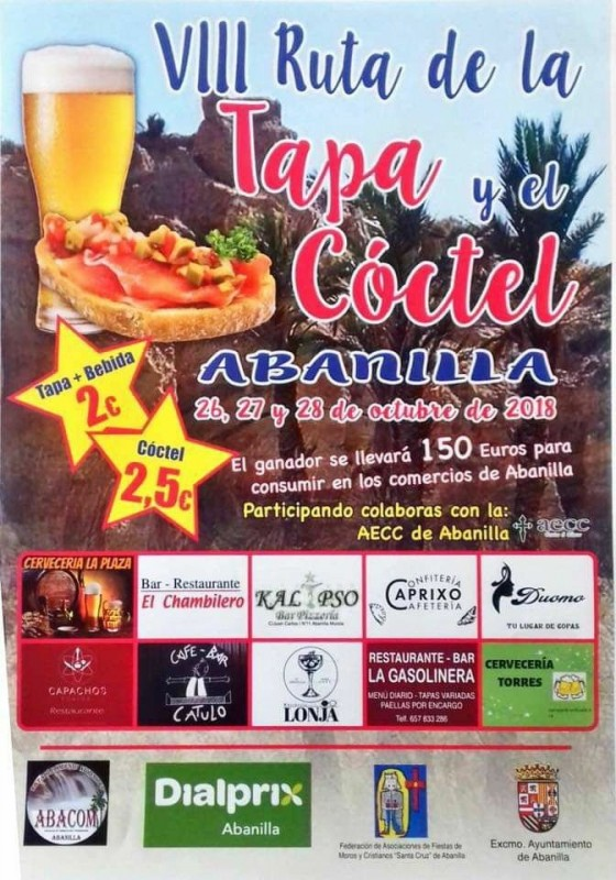 26th to 28th October Abanilla Tapas and Cocktail Route